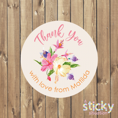 Personalised Thank You Stickers - Tropical Floral Design